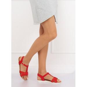 aa4b0037913f Červené dámske sandále so zapínaním okolo členku ...