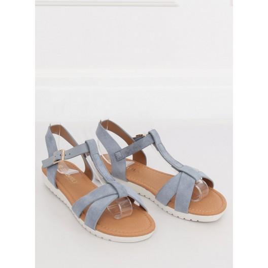 Svetlo modré dámske sandále s pruhmi na nízkej bielej podrážke