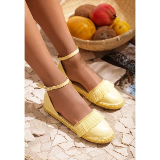 Dámske letné espadrilky žltej farby s prackou