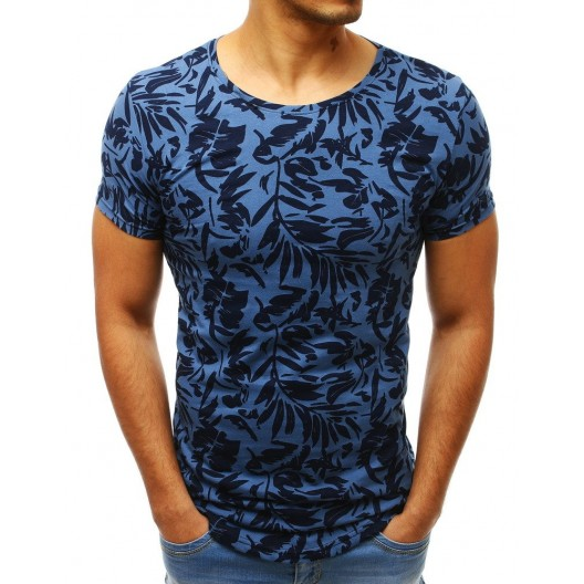 Pánske tričko s potlačou v modrej farbe