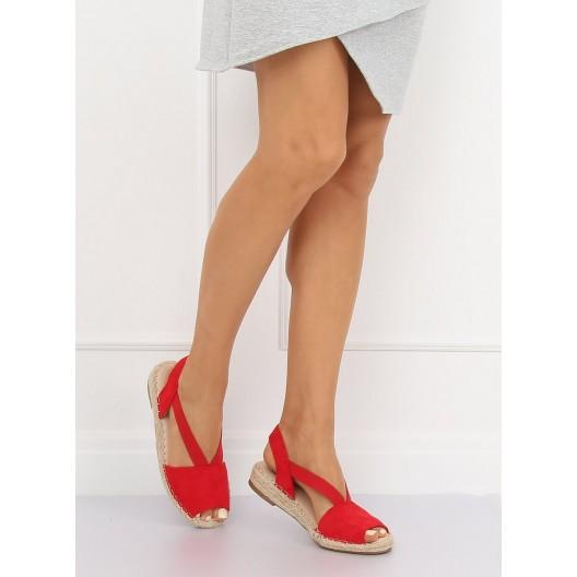 Originálne dámske nasúvacie červené espadrilky s voľnou špičkou a pätou