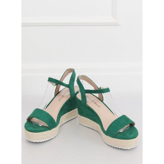 Trendy dámske semišové zelené sandále na pletencovej platforme