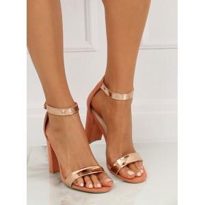 Elegantné dámske ružové sandále s metalickými pruhmi v ružovom zlate