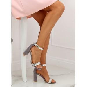 Luxusné dámske sandále na módnom opätku so striebornými pásmi
