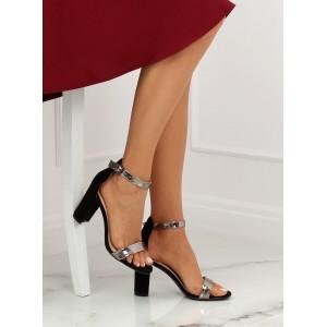 Štýlové dámske sandále čiernej farby s remienkom okolo nohy