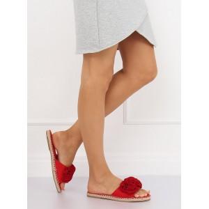 Červené dámske šľapky s námorníckym motívom