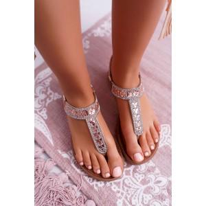 Ružové dámske sandále so striebornými a ružovými kamienkami