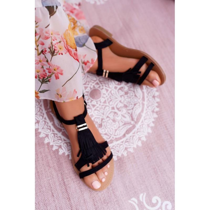 40a2d16bc317 Originálne dámske čierne sandále so strapcami viazaním okolo nohy