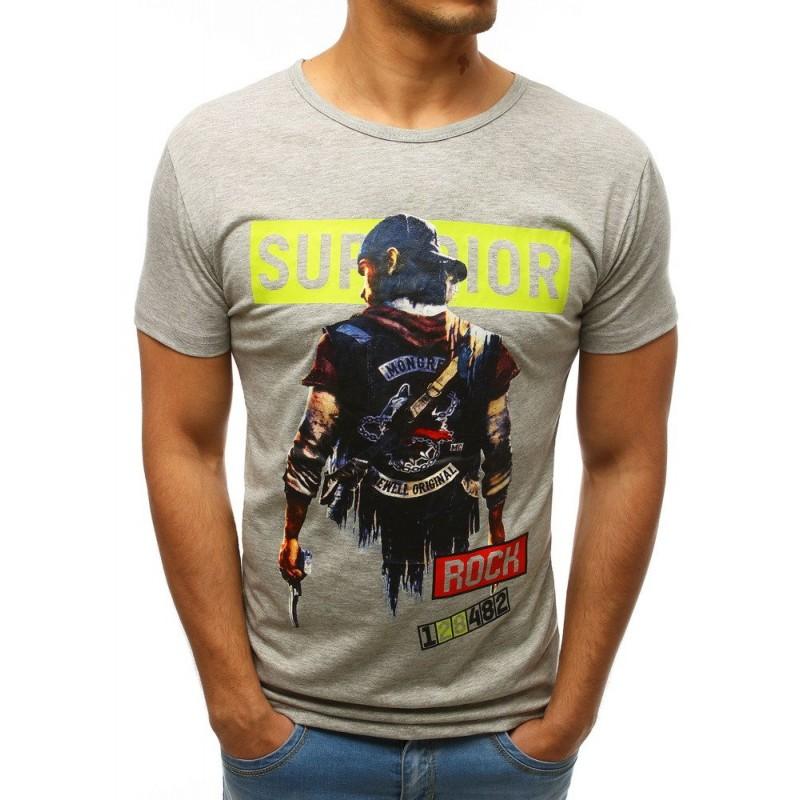 8c39953ef9 Svetlo sivé pánske tričko s krátkym rukávom a potlačou