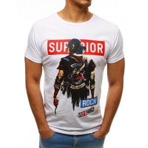 Štýlové pánske biele tričko s potlačou bojovníka a nápisom