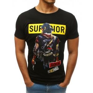 Pánske tričko s krátkym rukávom čiernej farby a s potlačou