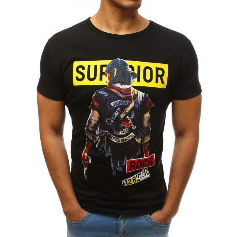7165fc89f411 Pánske tričko s krátkym rukávom čiernej farby a s potlačou