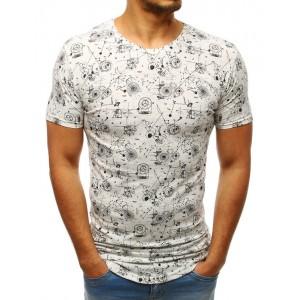 Smotanovo biele pánske tričko s originálnou potlačou konštrukcií