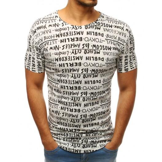 Moderné pánske tričko krémovej farby s čiernymi nápismi hlavných miest