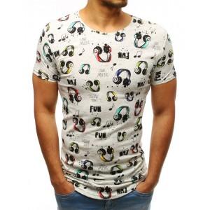 Štýlové pánske tričko predĺženého strihu s potlačou LOVE MUSIC