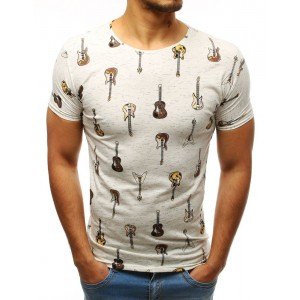 Moderné pánske tričko krémovej farby s trendy potlačou hnedých gitár