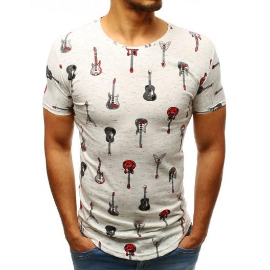Rockové pánske tričko predĺženého strihu s potlačou červených gitár