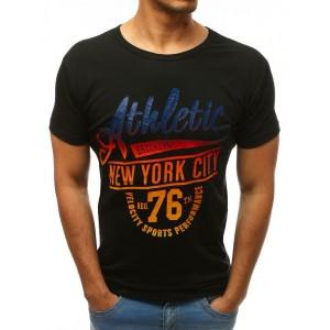 Športové čierne pánske tričko s farebným nápisom Athletic