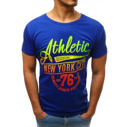 Trendy pánske modré letné tričko s farebnými nápismi