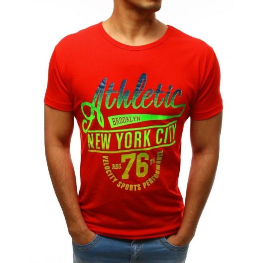 Červené pánske tričko s krátkym rukávom s výrazným farebným nápisom