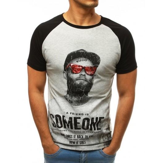 Originálne pánske sivo čierne tričko s potlačou a nápismi