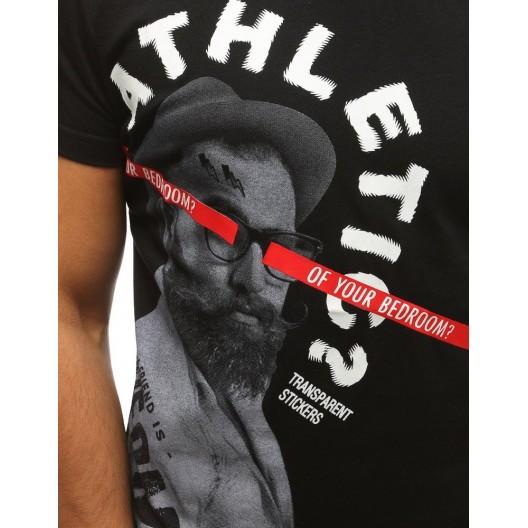 Pánske čierne tričko s originálnym nápisom a potlačou