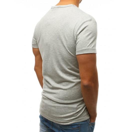 Svetlo sivé pánske tričko s originálnou potlačou a designom