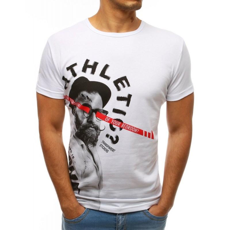 5edfb0d753b3 Moderné pánske biele tričko s krátkym rukávom s top designom a nápisom