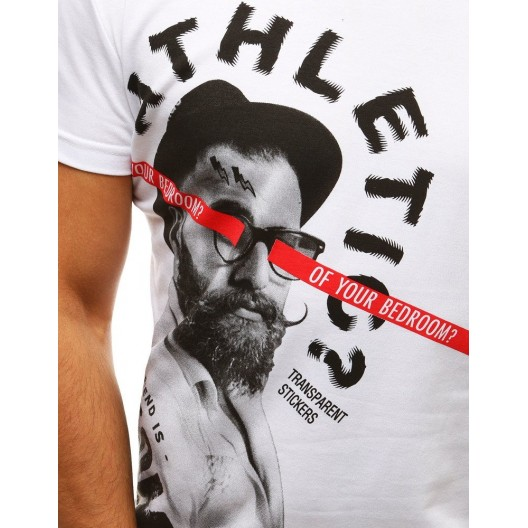 Moderné pánske biele tričko s krátkym rukávom s top designom a nápisom