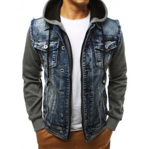 Originálna pánska rifľová bunda na zips s kapucňou a rukávmi z bavlny