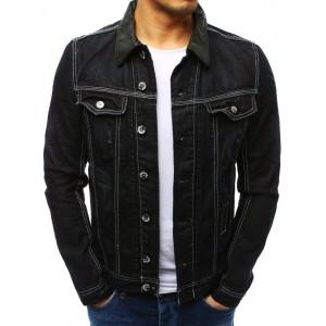 Originálna pánska čierne jeansova bunda s bielym prešívaním