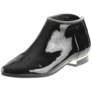 Dámske lakované spoločenské topánky s elegantným zipsom v čiernej farbe