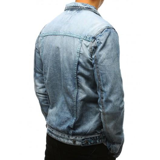 Štýlová svetlo modrá pánska rifľová bunda so zapínaním na gombíky