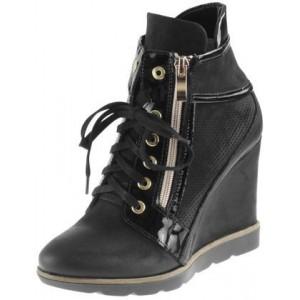 Moderné a trendy dámske topánky čiernej farby s praktickým zipsom a šúrovaním
