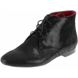 Dámska členková obuv z prírodnej kože čiernej farby