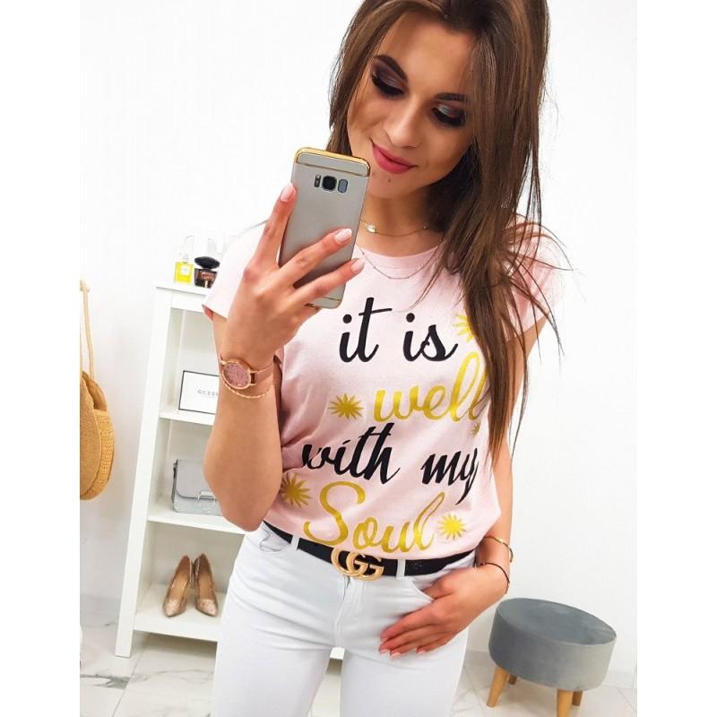 ba27c1504a34 Krásne púdrovo ružové dámske letné tričko s nápisom