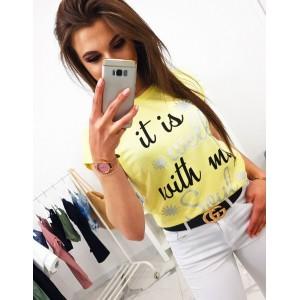 Pohodlné dámske tričko citrónovo žltej farby s nápisom