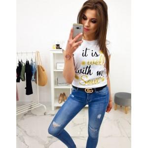 b74923c95b31 Bavlnené dámske biele tričko s originálnou potlačou a nápisom