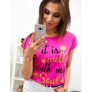 Módne neónovo ružové dámske tričko s cool nápisom