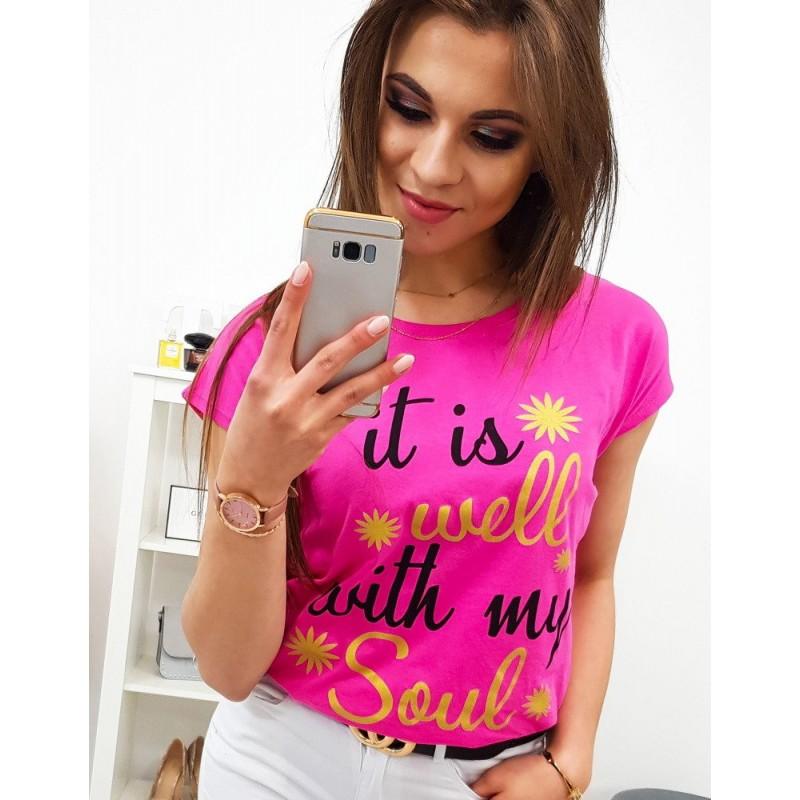 d6c84ffbb9b6 Módne neónovo ružové dámske tričko s cool nápisom
