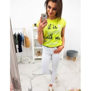 Limentkovo žlté dámske letné tričko s krátkym rukávom a trendy nápisom