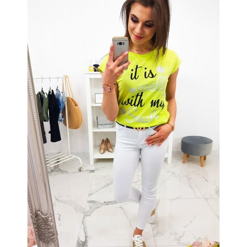 7422d08b0745 Limentkovo žlté dámske letné tričko s krátkym rukávom a trendy nápisom
