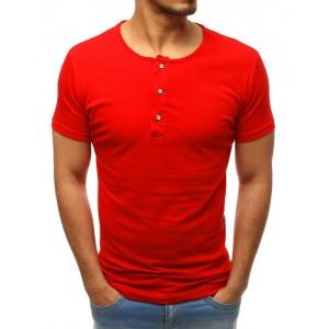 Bavlnené pánske tričko s krátkym rukávom červenej farby