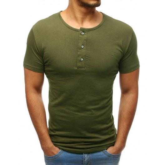 Bavlnené pánske tričko s krátkym rukávom zelenej farby
