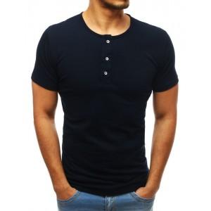 Pánske bavlnené tričko tmavo modrej farby s gombíkmi