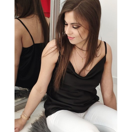 Čierny elegantný dámsky top na úzke ramienka