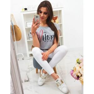 Dámske sivé tričko s krátkym rukávom a módnym nápisom