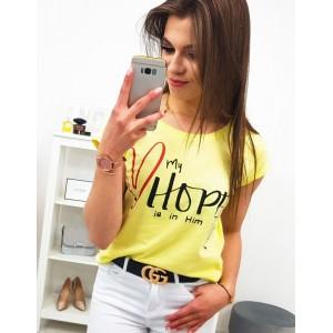 Dámske žlté tričko s nápisom MY HOPE IS IN HIM