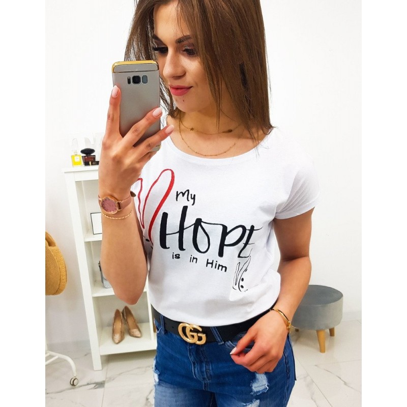 a035f4bc8768 Originálne dámske biele tričko s krátkym rukávom a trendy potlačou
