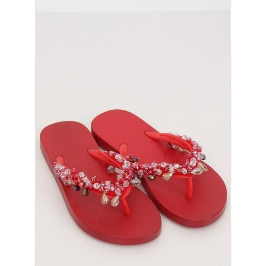 Dámske letné šľapky v červenej farbe s kamienkami